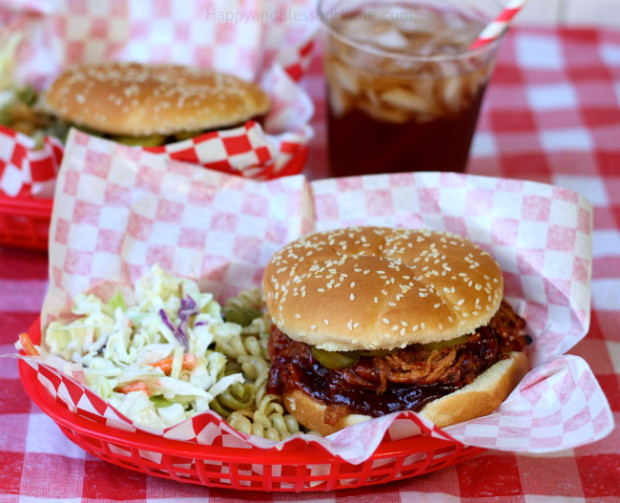 Tasty Pulled Pork BBQ Sandwiches easy crockpot recipe by HappyandBlessedHome.com