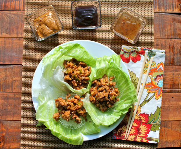 Copycat Recipe for PF Chang's Chicken Lettuce Wraps with recipe shortcut for under 30 minutes from HappyandBlessedHome.com