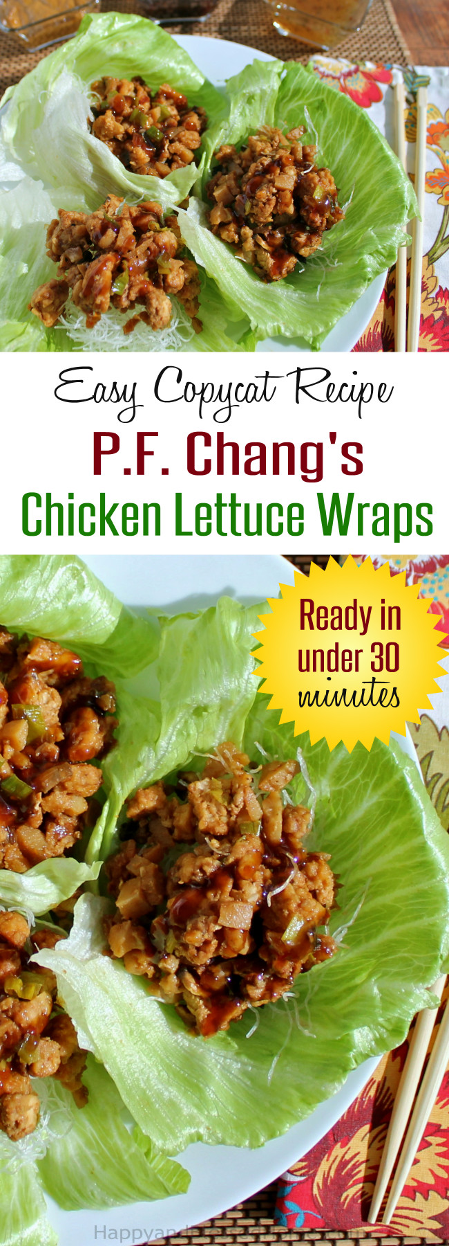 Easy Copycat Recipe for PF Chang's Chicken Lettuce Wraps Ready in under 30 Minutes by HappyandBlessedHome.com
