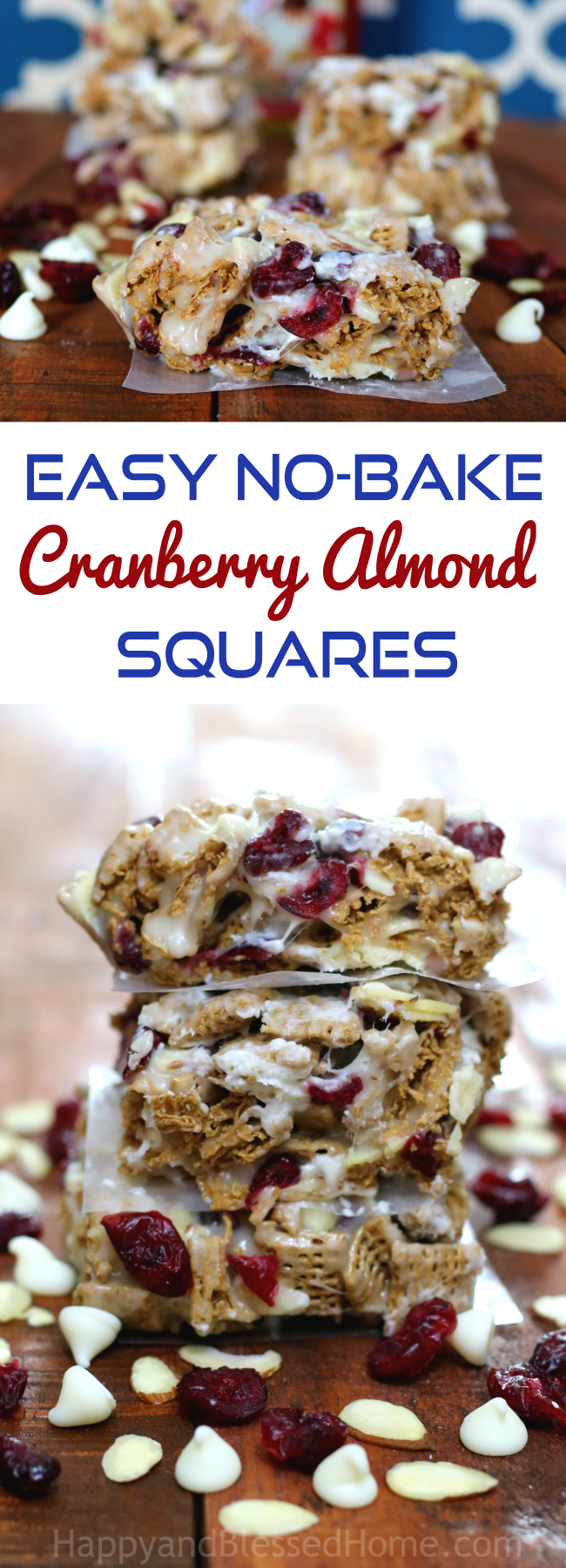 Easy No Bake Crunchy Cranberry Almond Squares an easy after school snack by HappyandBlessedHome.com