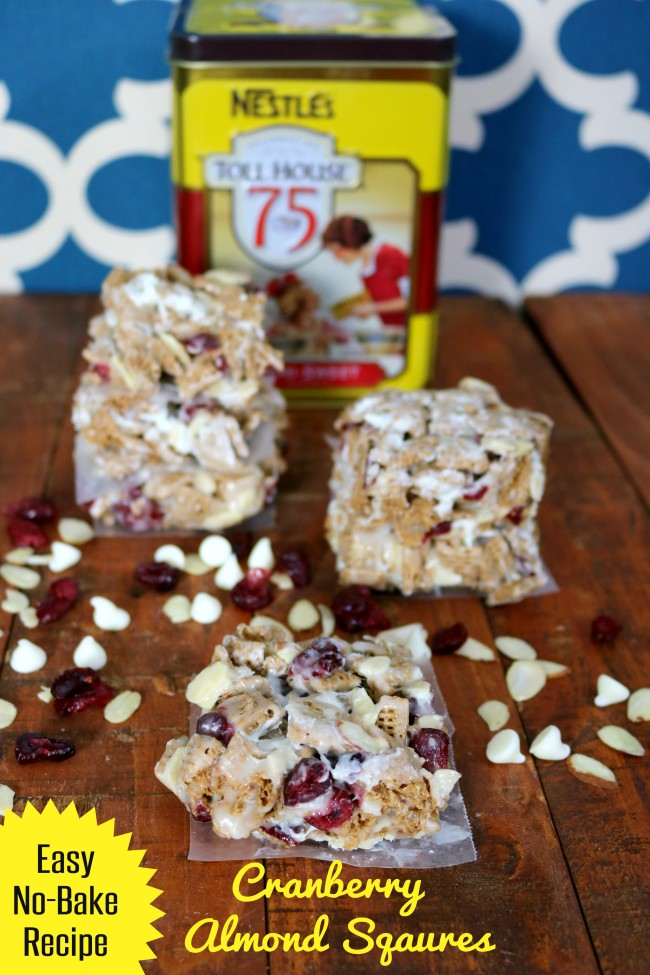 Easy No Bake Recipe Cranberry Almond Squares by HappyandBlessedHome.com