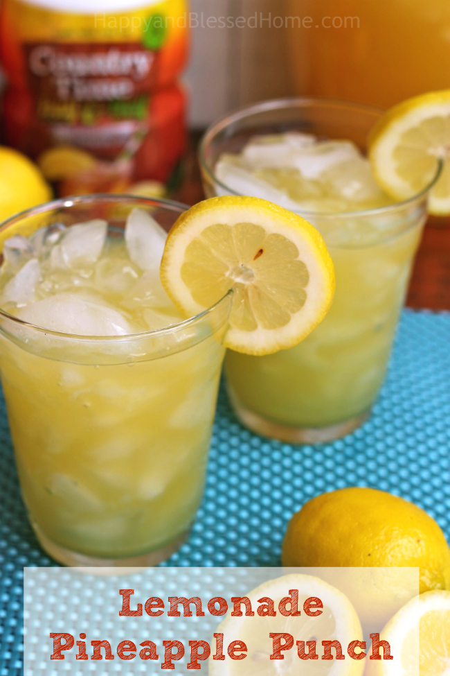 Easy Recipe for Lemonade Pineapple Punch a refreshing drink by HappyandBlessedHome.com