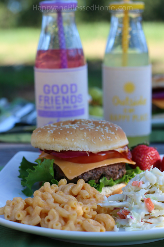 Fire up the Grill and serve a burger with Kraft toppings, Kraft Mac n Cheese and Countrytime Lemonade from HappyandBlessedHome.com