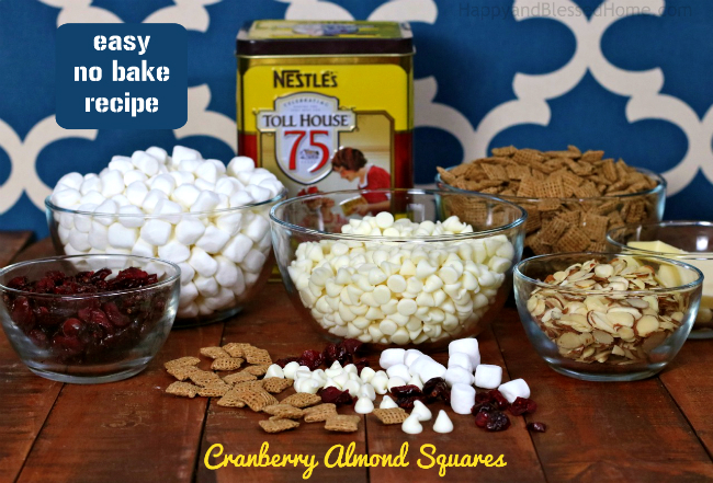 Ingredients for easy no bake Cranberry Almond Squares by HappyandBlessedHome.com