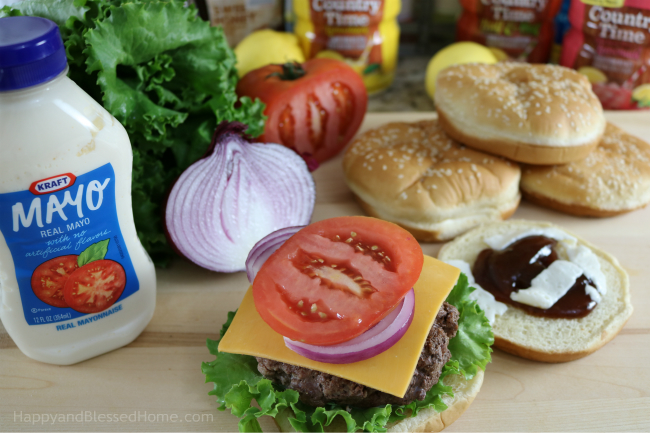 Savor the flavors of Summer and Fire up the grill with yummy Kraft toppings with recipe from HappyandBlessedHome.com