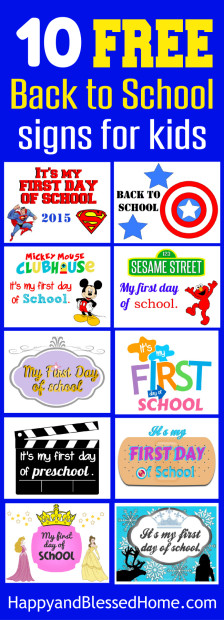 10 Free Back to School Signs for Kids from HappyandBlessedHome.com