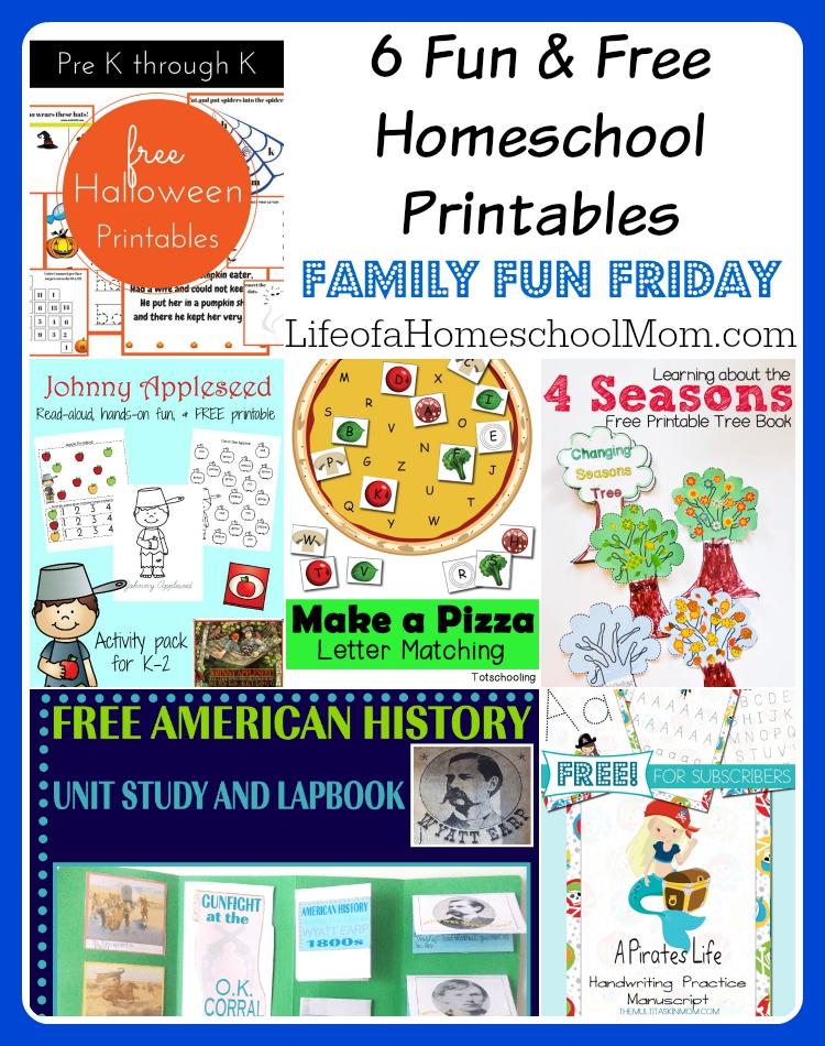 6 Fun & Free Homeschool Printables Family Fun Friday