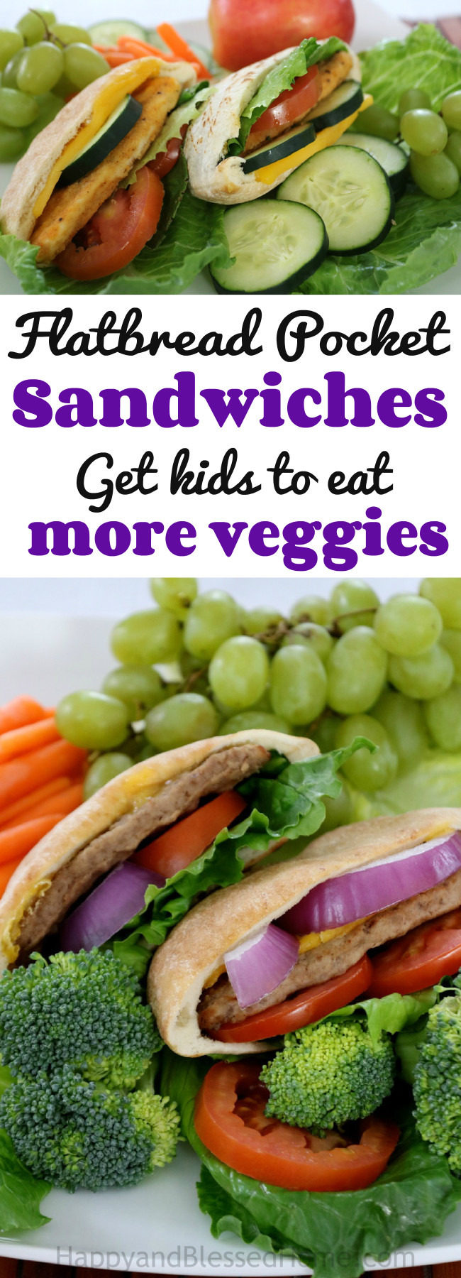 I was trying to get my kids to eat more veggies and I've found the solution! Try these tasty flatbread pocket sandwiches - easy recipe at HappyandBlessedHome.com