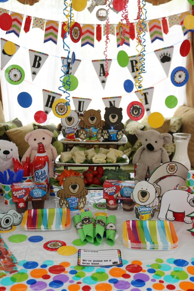 Cute idea for a kids party - stage  bear hunt and bear hunt party! Complete with kids activities pack and party decorations by HappyandBlessedHome.com
