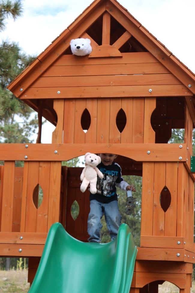 Hiding bears in the club house of our play set was a great idea for our bear hunt