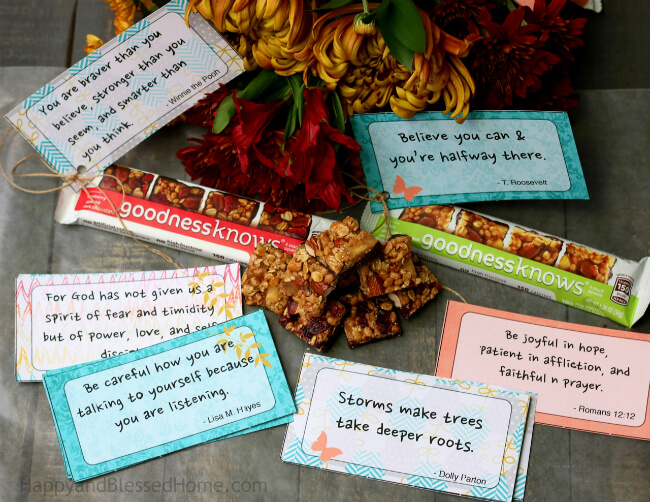 24 Free Prinatble cards to inspire and encourage people you know pair with flowers or goodnessknows® Cranberry, Almond, Dark Chocolate
