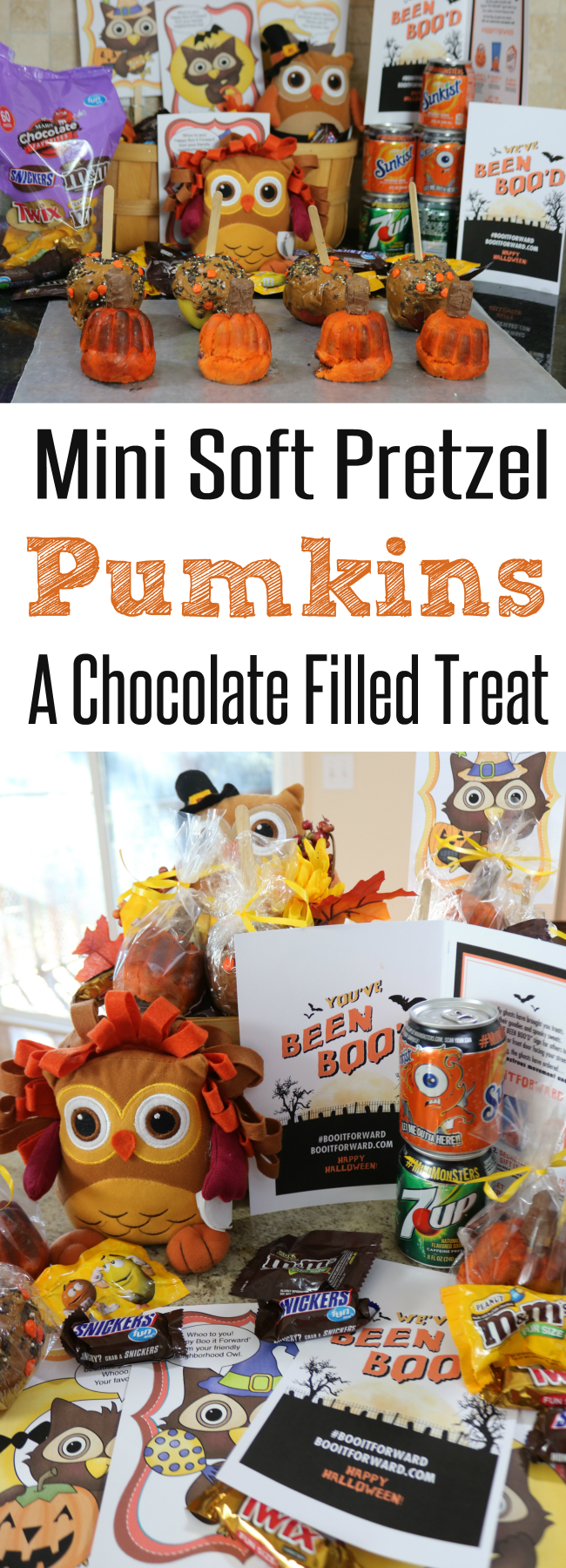 A Fun way to use Halloween Candy Bake some Mini Soft Pretzel Filled Pumkins