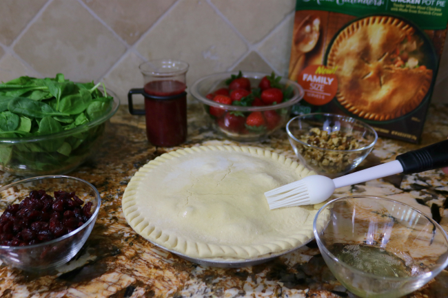 Baste the outer crust of your pot pie with egg white for a brown crust