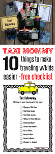 Easy free checklist to help moms stay organized with kids in the car!