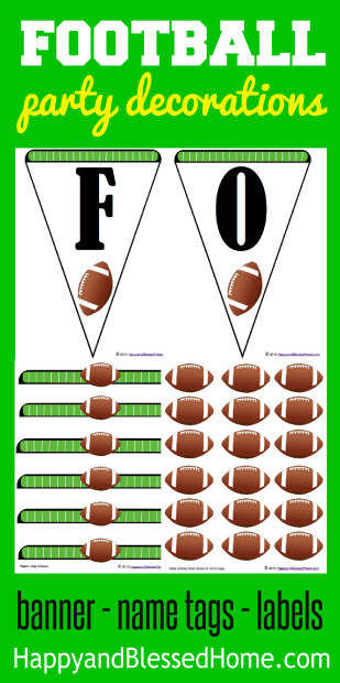Football Party Decorations with fun party banner labels name tags and more from HappyandBlessedHome.com