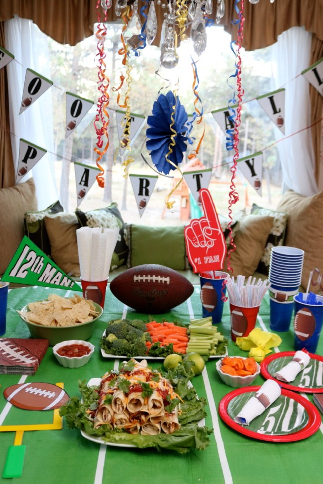 Free Football Party Banner and Printables and Tequila Lime Chicken Taquitos Recipe from HappyandBlessedHome