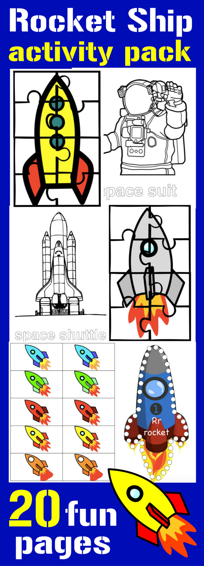 Fun for your favorite astronaut! 20 Activity pages about rocket ships from HappyandBlessedHome.com