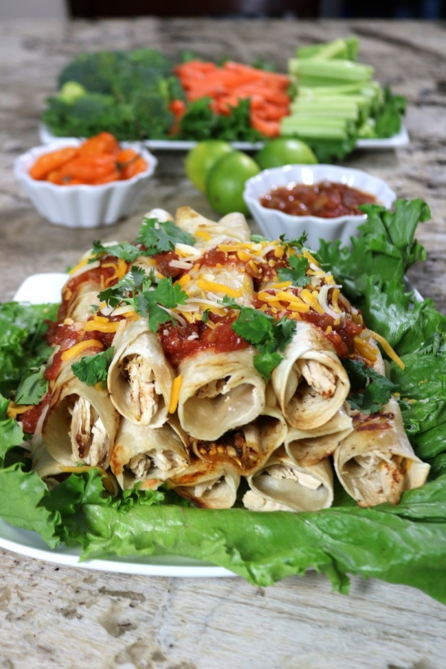 Homemade Tequila Lime Chicken Taquitos - perfect party appetizer or football party food!