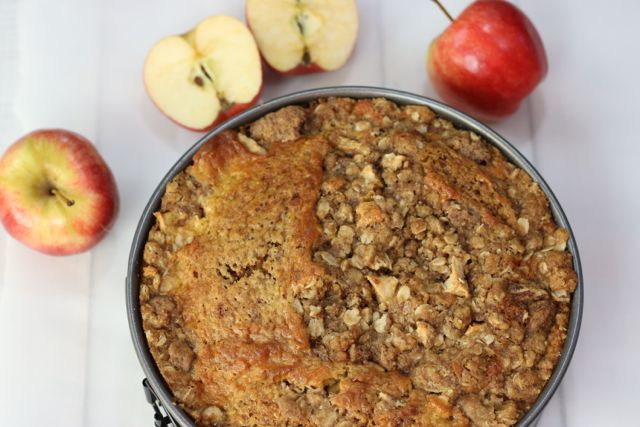 This crumble coat bakes into a delicious topping for this Apple Streusel Crumble Coffee Cake