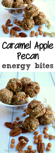 Just mix roll and eat these no bake Caramel Apple Pecan energy bites