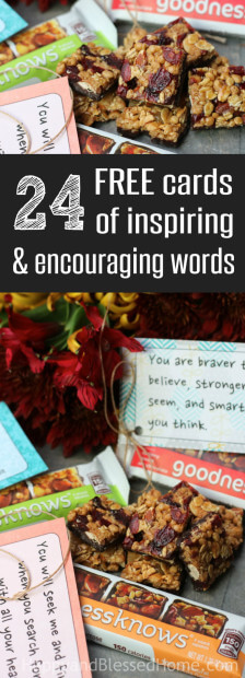 Need some inspiration? 24 FREE Prinatbles Cards with words of encouragement and inspiration from HappyandBlessedHome.com.jpg