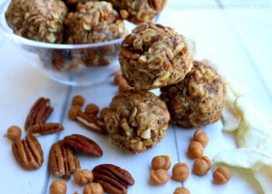 No heat no bake super easy recipe for Carmel Apple Pecan energy bites - now you can have carmel apple flavor in a healthy snack