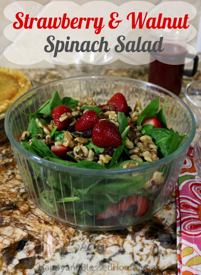 Strawberry and Walnut Spinach Salad