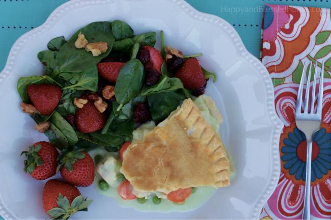 Tasty Marie Callender's Chicken Pot Pie with Strawberry Cranberry Walnut Spinach Salad