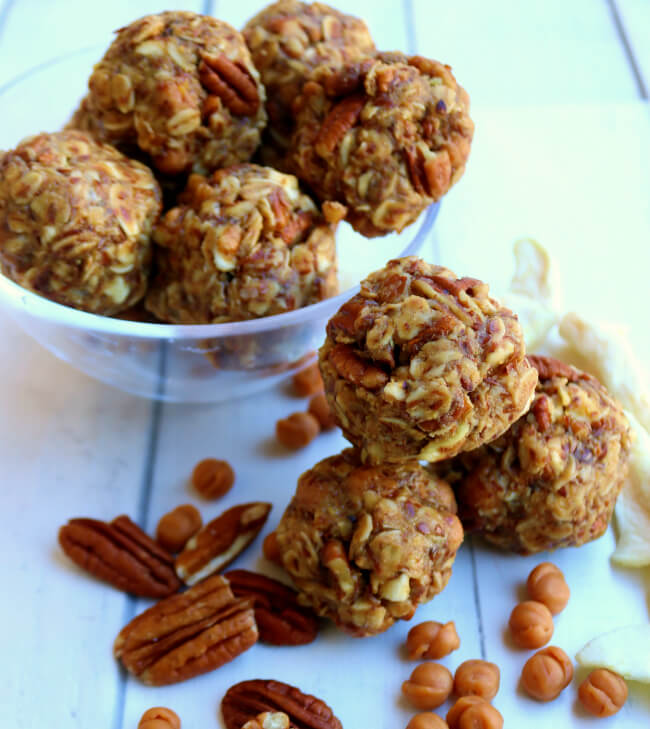 Want a bite -- Caramel Apple Pecan Energy Bites - packed with protein and flavor