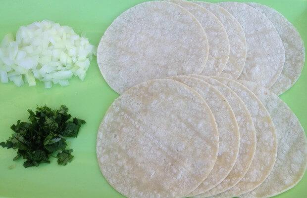 tortillas, cilantro, onions