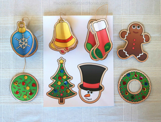 FREE Christmas Ornament Printables from HappyandBlessedHome.com