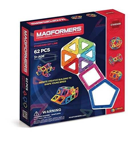 STEM Toy - Magformers Intelligent Magnetic Construction Set for Brain Development, 62 Piece
