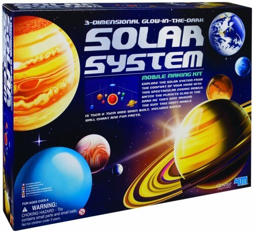 STEM Toy - 4M 3-Dimensional Glow-In-The-Dark Solar System Mobile Making Kit