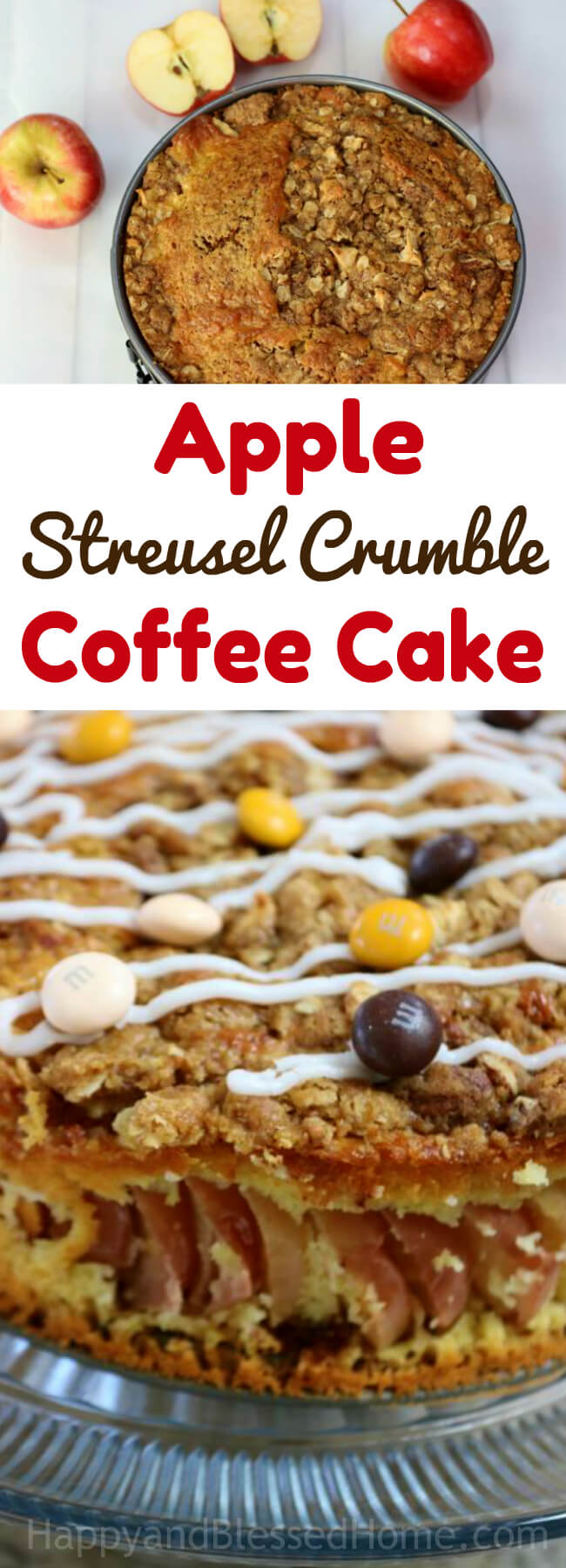 A baked dessert - Apple Streusel Crumble Coffee Cake