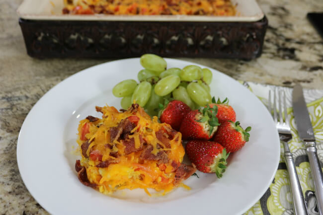 A delicious brunch idea - Hash browns, Eggs and Bacon Breakfast Casserole