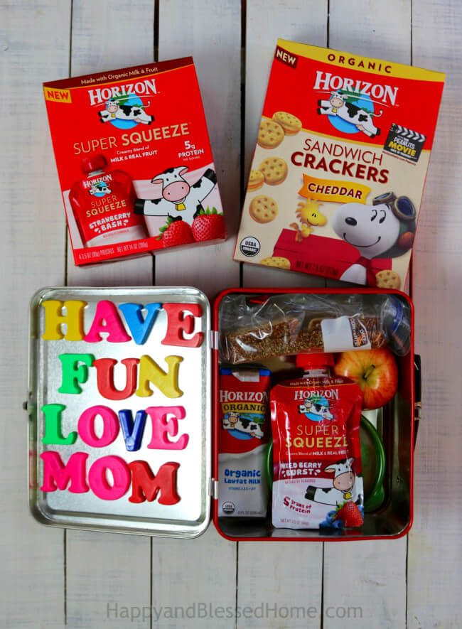 Add magnetic letters for a little lunch time fun!