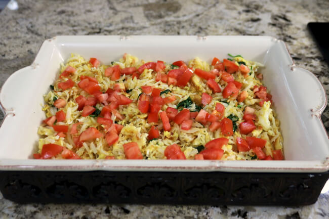 Add tomatoes to make this tasty Hash browns, Eggs and Bacon Breakfast Casserole
