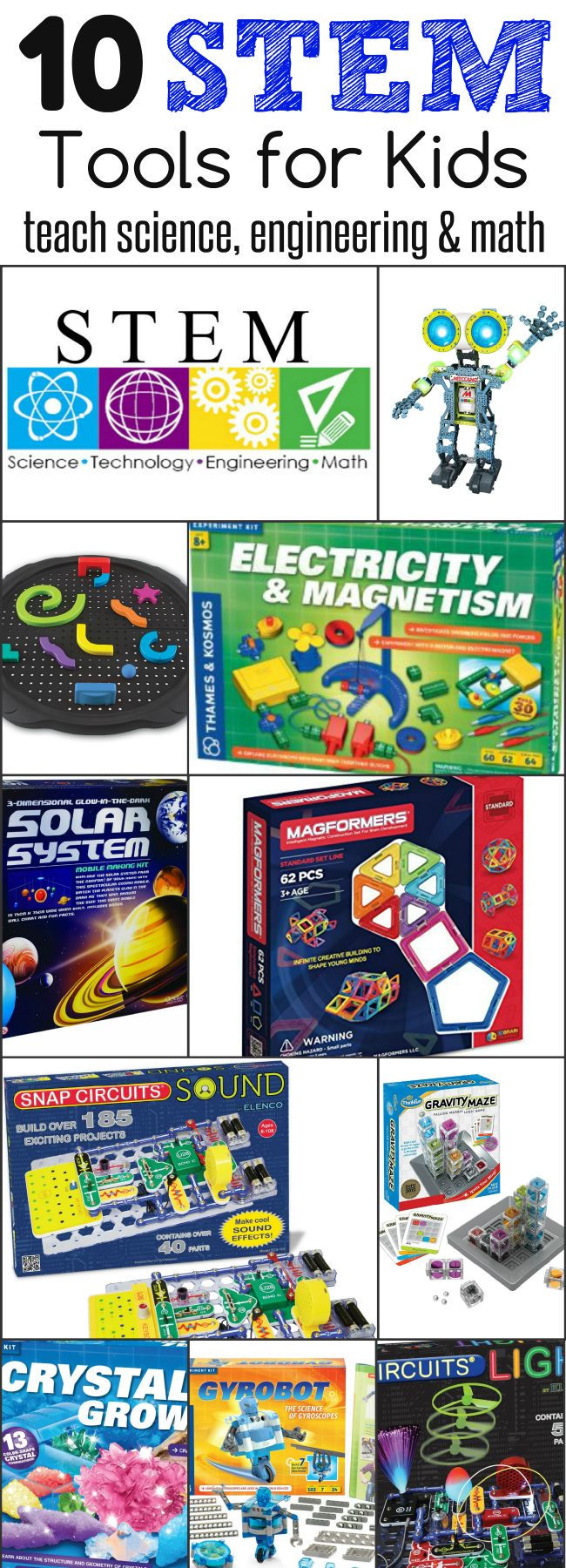 Awesome list - Want to teach kids about science, technology, engineering and math - You'll love this list of 10 STEM Tools for kids