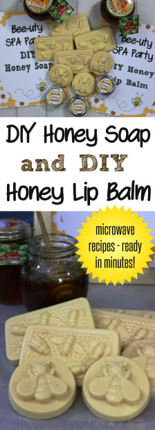 Easy Microwave Recipes for DIY Honey Soap and DIY Honey Lip Balm - Handmade gifts ready in minutes