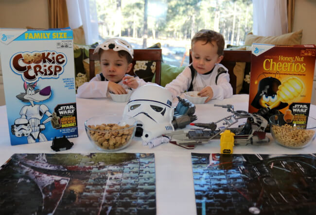 Enjoying Star WARS toys and cereal snacks