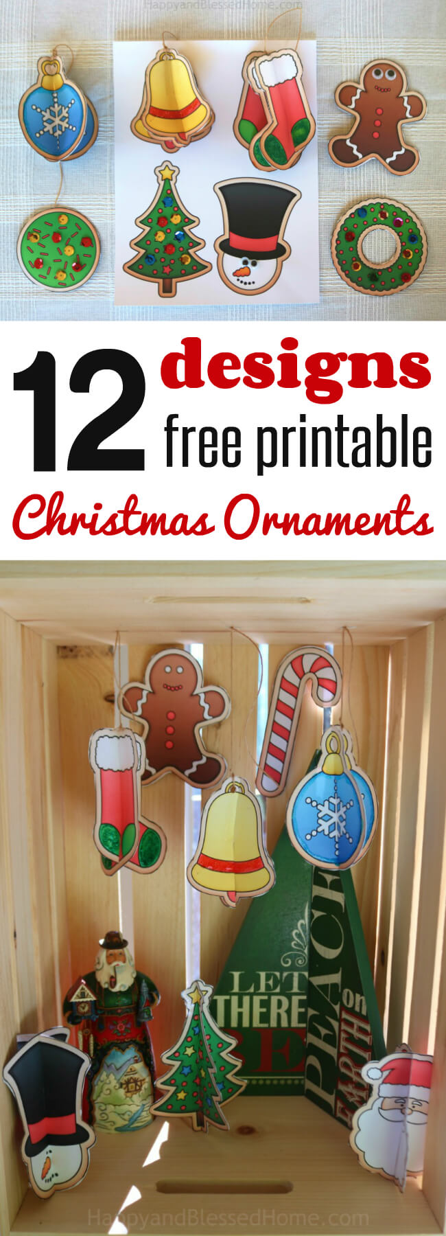 photo relating to Printable Christmas Crafts named 12 Free of charge Xmas Ornaments Printables and a Xmas Craft