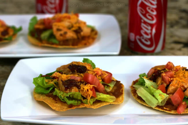 Fresh toppings make for tasty Chipotle Pepper Chicken Tostadas