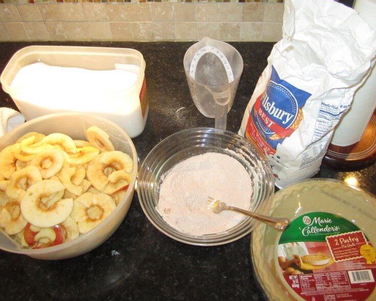 Caramel Apple Pecan Pie Ingredients - in process