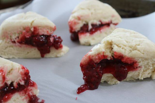 Filled with raspberry pie filling - these raspberry scones are delicious