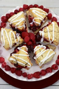 Raspberry Scones are perfect for holiday entertaining or any crimson and white themed party