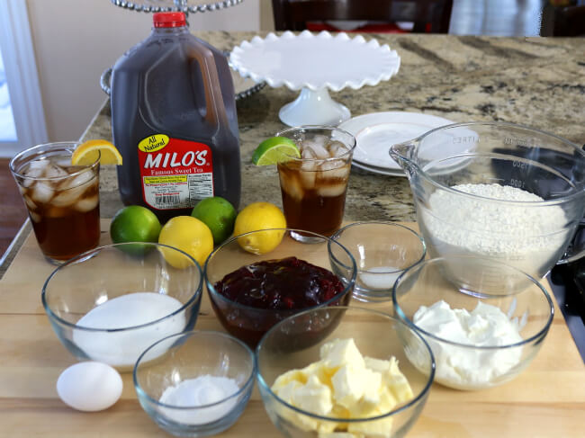 Ingredients for a holiday party - Raspberry Scones and Milos Iced Tea