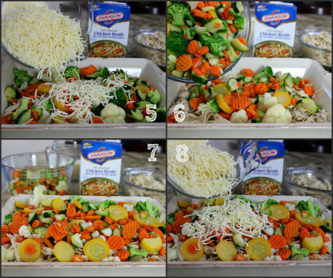 Layer with Chicken then Vegetables then cheese to create this Cheesy Chicken Lasagna dinner
