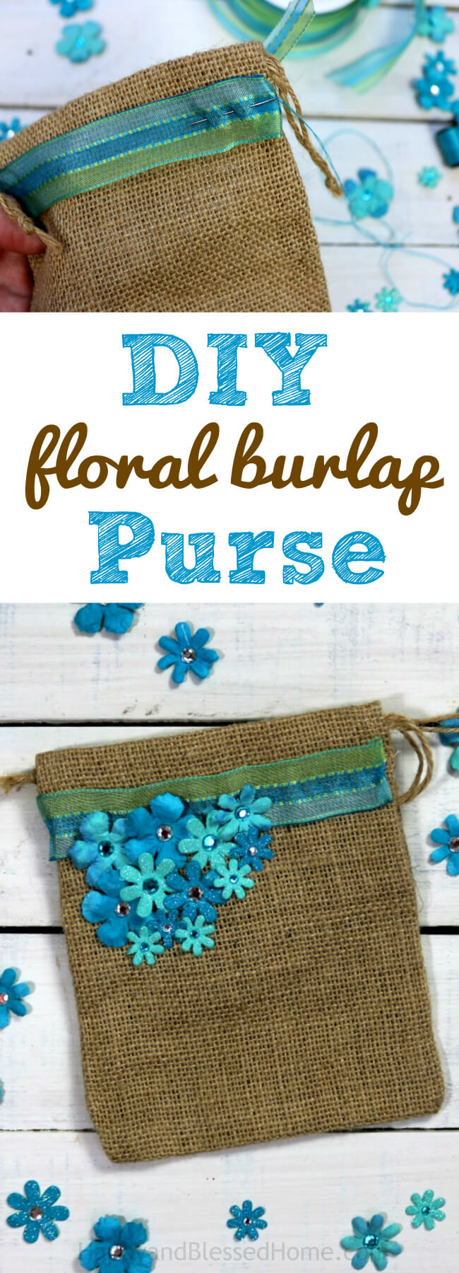 Less than 30 minutes to make and a beautiful DIY floral burlap purse that can be given as a gift or perfect for bridesmaids