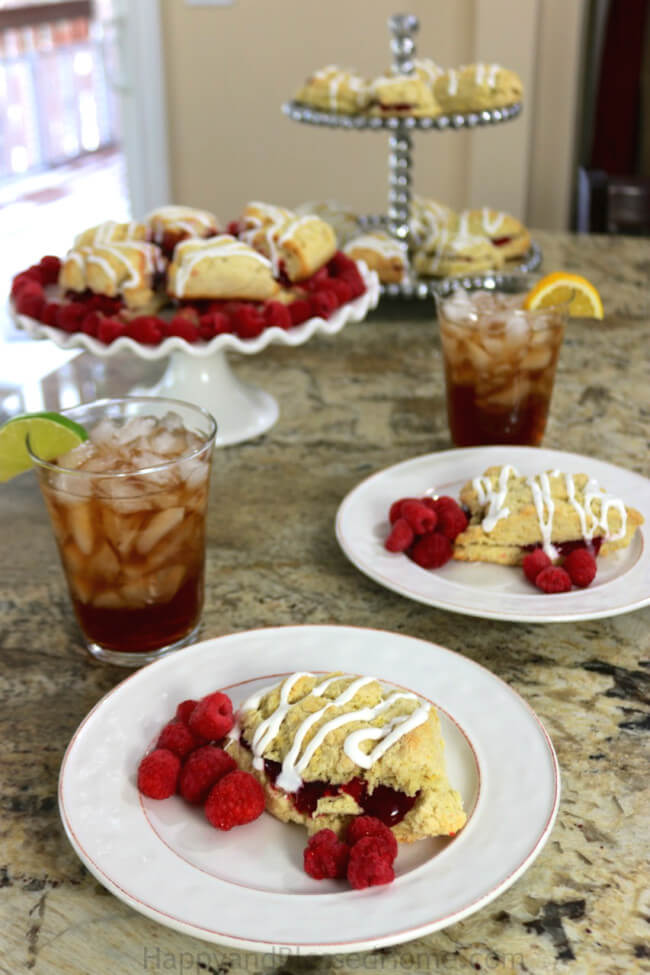 Milos Sweet Iced Tea and Raspberry Scones are the perfect combination for holiday entertaing