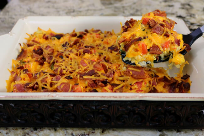 Serving up a slice of Hash browns, Eggs and Bacon Breakfast Casserole
